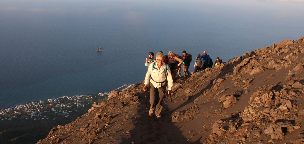 Climbing to Stromboli crater